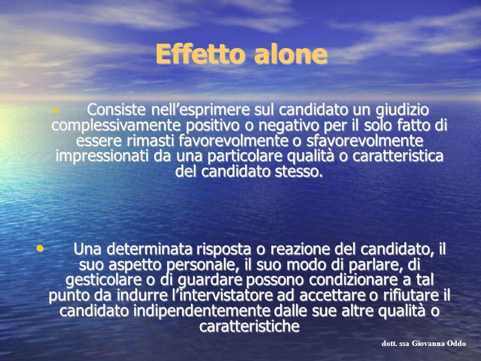 Effetto alone Consiste nellesprimere sul candidato un giudizio complessivamente positivo o negativo per il solo fatto di essere rimasti favorevolmente