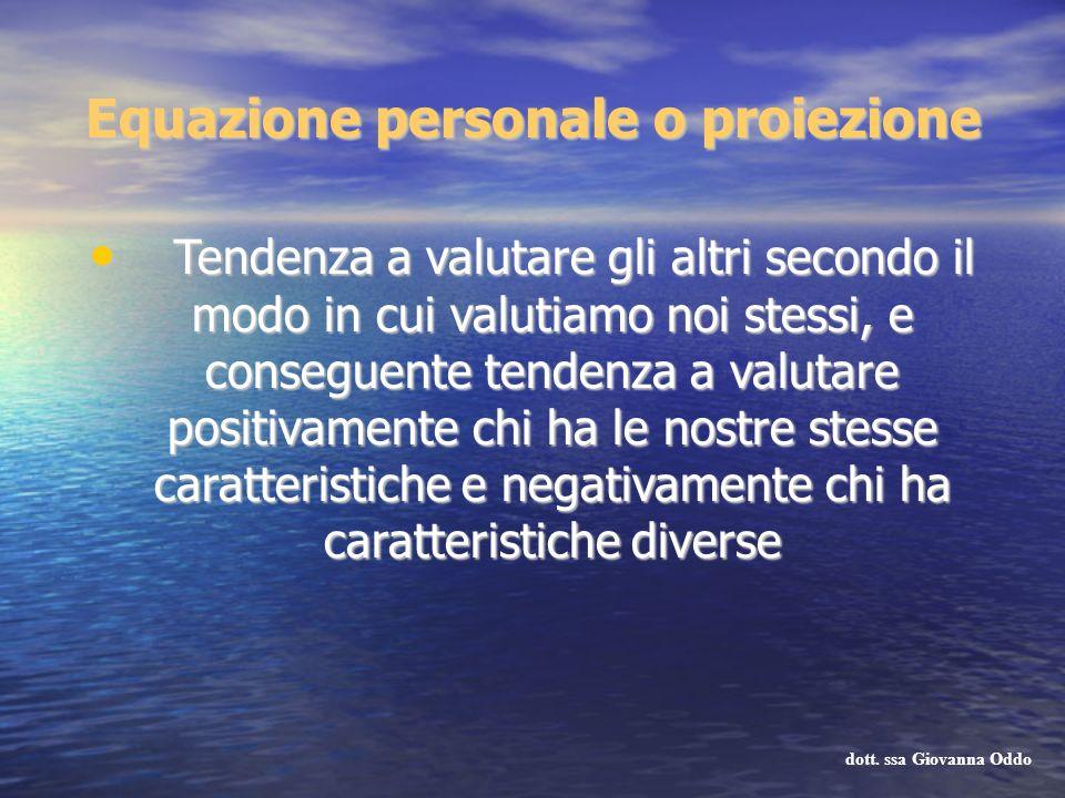 Equazione personale o proiezione Tendenza a valutare gli altri secondo il modo in cui valutiamo noi stessi, e conseguente tendenza a valutare positiva