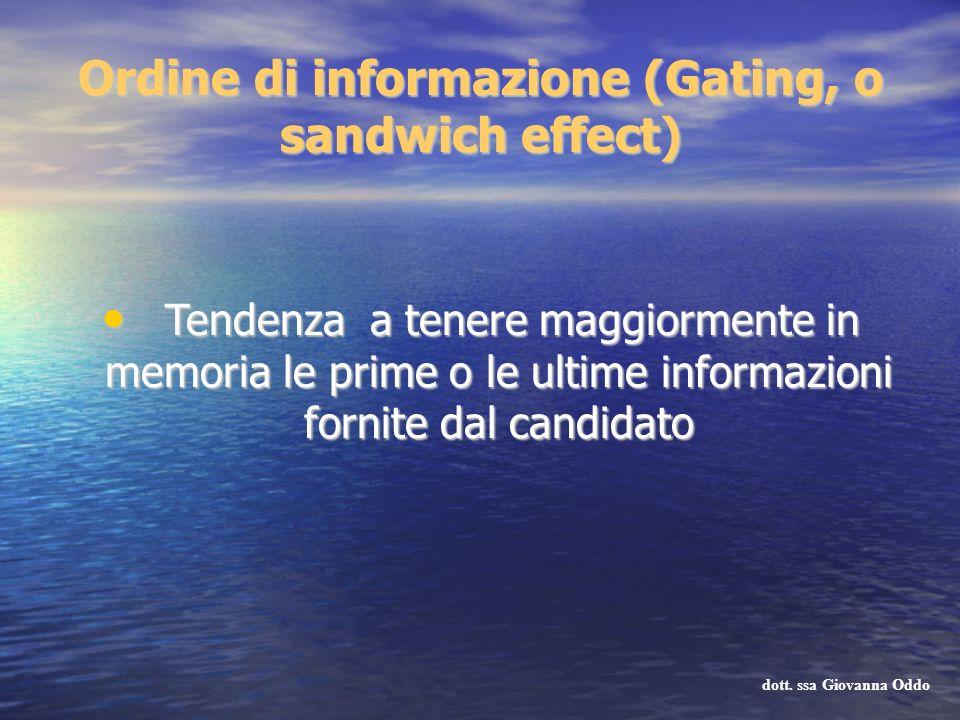 Ordine di informazione (Gating, o sandwich effect) Tendenza a tenere maggiormente in memoria le prime o le ultime informazioni fornite dal candidato T