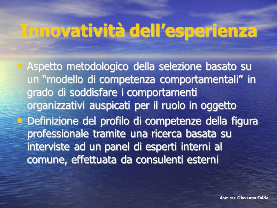 Innovatività dellesperienza Aspetto metodologico della selezione basato su un modello di competenza comportamentali in grado di soddisfare i comportam