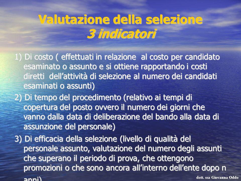 Valutazione della selezione 3 indicatori 1) Di costo ( effettuati in relazione al costo per candidato esaminato o assunto e si ottiene rapportando i c