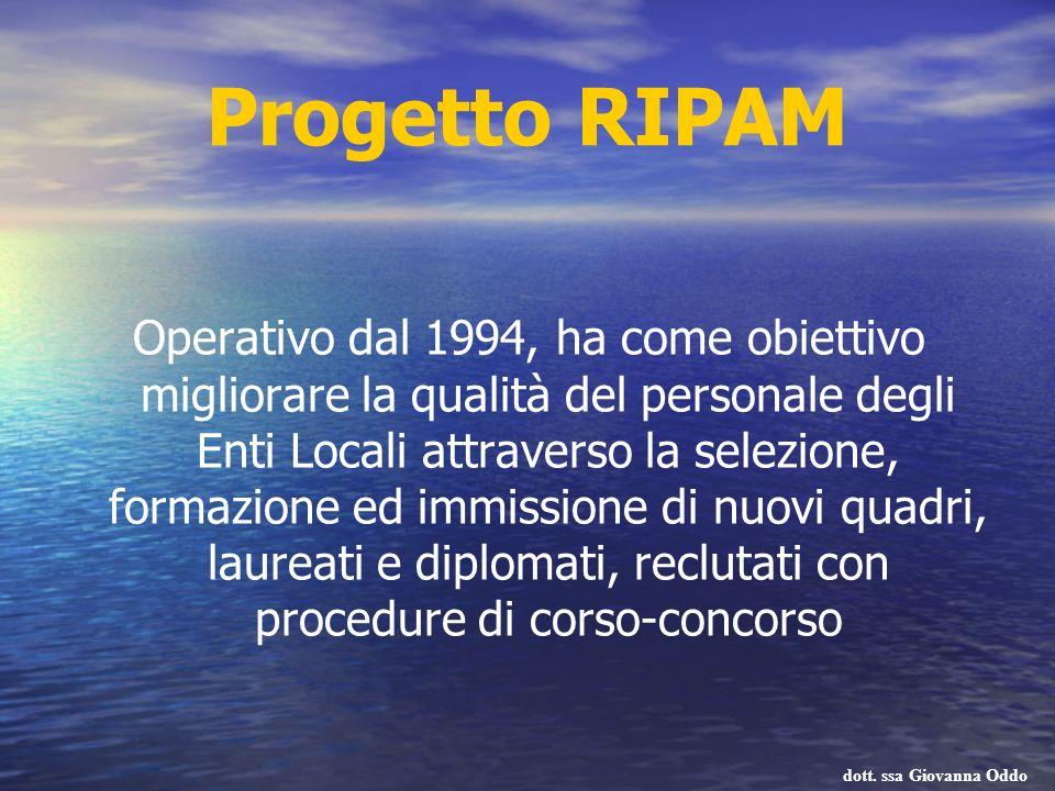 Progetto RIPAM Operativo dal 1994, ha come obiettivo migliorare la qualità del personale degli Enti Locali attraverso la selezione, formazione ed immi