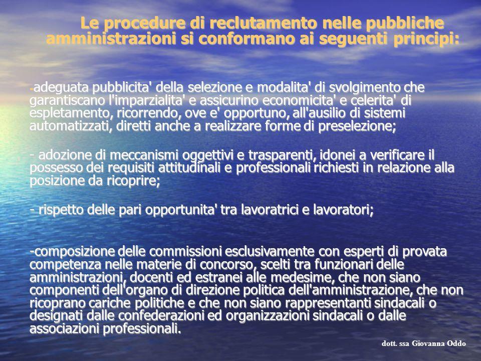 Le procedure di reclutamento nelle pubbliche amministrazioni si conformano ai seguenti principi: - adeguata pubblicita' della selezione e modalita' di