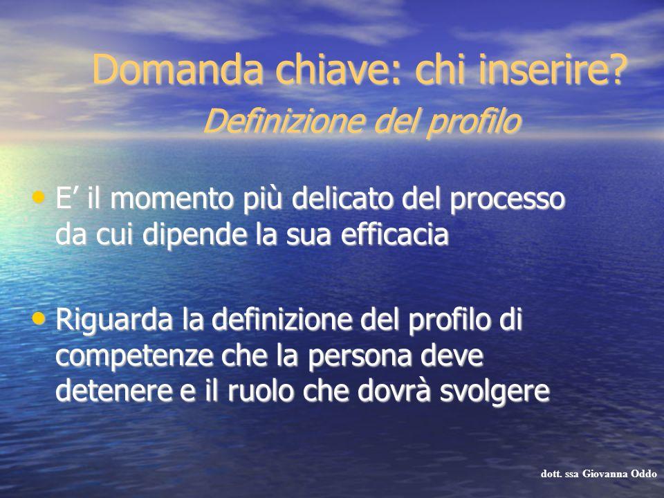 Domanda chiave: chi inserire? Definizione del profilo E il momento più delicato del processo da cui dipende la sua efficacia E il momento più delicato