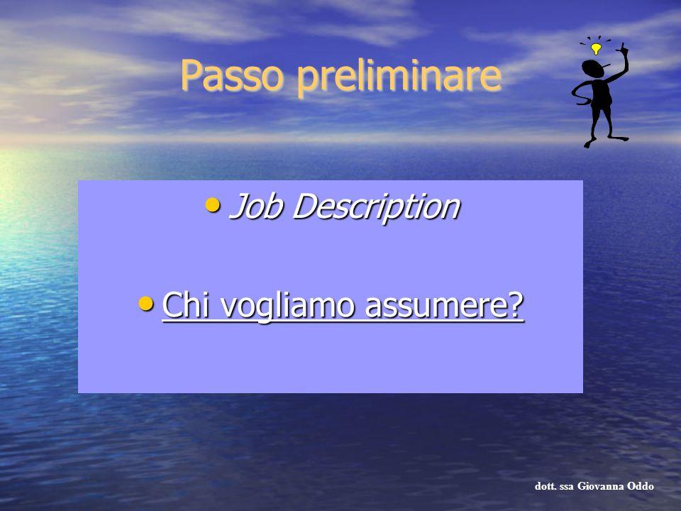 Passo preliminare Job Description Job Description Chi vogliamo assumere? Chi vogliamo assumere? dott. ssa Giovanna Oddo