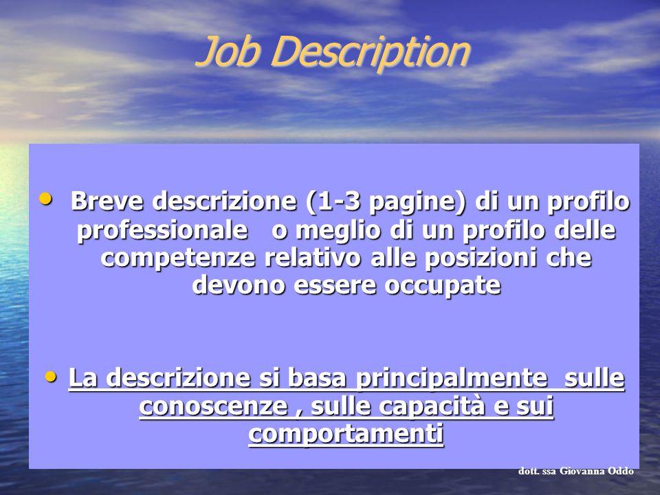 Job Description Breve descrizione (1-3 pagine) di un profilo professionale o meglio di un profilo delle competenze relativo alle posizioni che devono