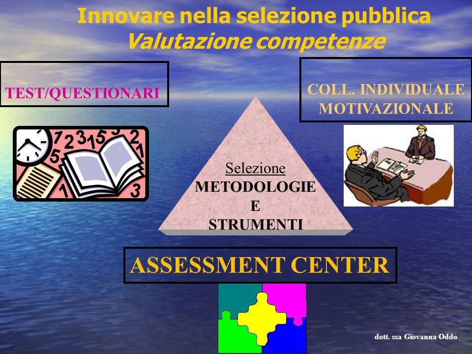 Selezione METODOLOGIE E STRUMENTI ASSESSMENT CENTER TEST/QUESTIONARI COLL. INDIVIDUALE MOTIVAZIONALE dott. ssa Giovanna Oddo Innovare nella selezione