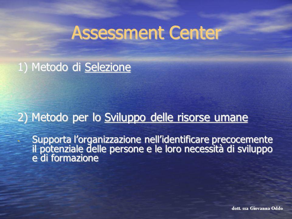 Assessment Center 1) Metodo di Selezione 2) Metodo per lo Sviluppo delle risorse umane - Supporta lorganizzazione nellidentificare precocemente il pot