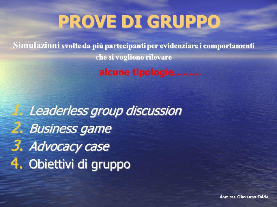 PROVE DI GRUPPO 1. Leaderless group discussion 2. Business game 3. Advocacy case 4. Obiettivi di gruppo Simulazioni svolte da più partecipanti per evi