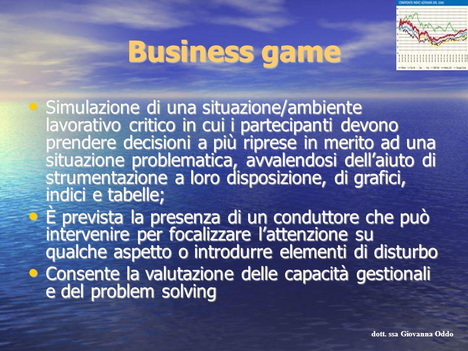 Business game Simulazione di una situazione/ambiente lavorativo critico in cui i partecipanti devono prendere decisioni a più riprese in merito ad una