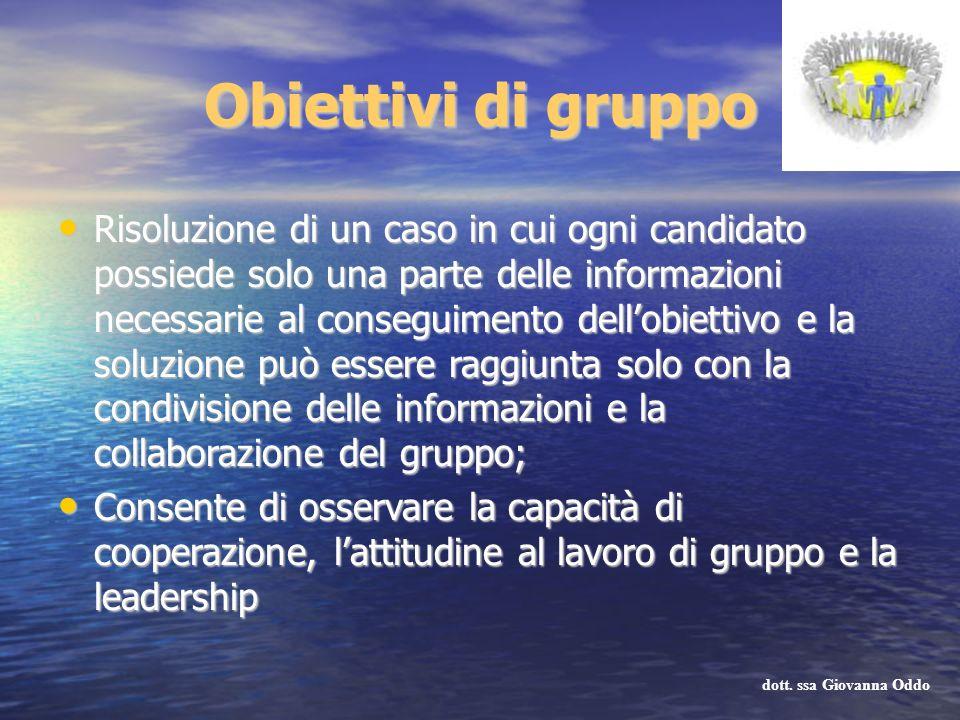 Obiettivi di gruppo Risoluzione di un caso in cui ogni candidato possiede solo una parte delle informazioni necessarie al conseguimento dellobiettivo