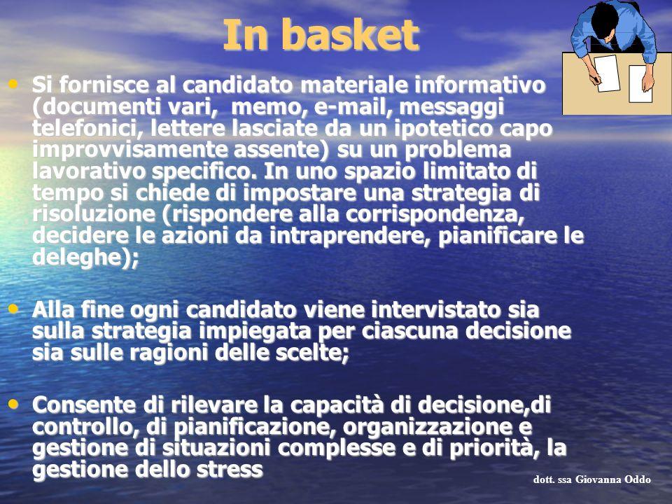 In basket Si fornisce al candidato materiale informativo (documenti vari, memo, e-mail, messaggi telefonici, lettere lasciate da un ipotetico capo imp