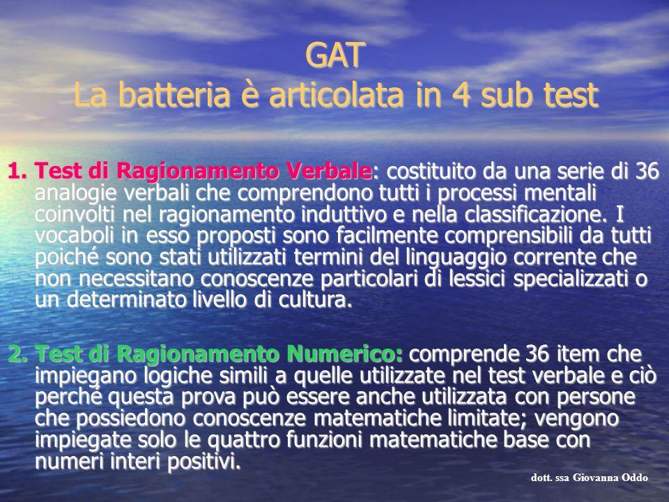 GAT La batteria è articolata in 4 sub test 1. Test di Ragionamento Verbale: costituito da una serie di 36 analogie verbali che comprendono tutti i pro