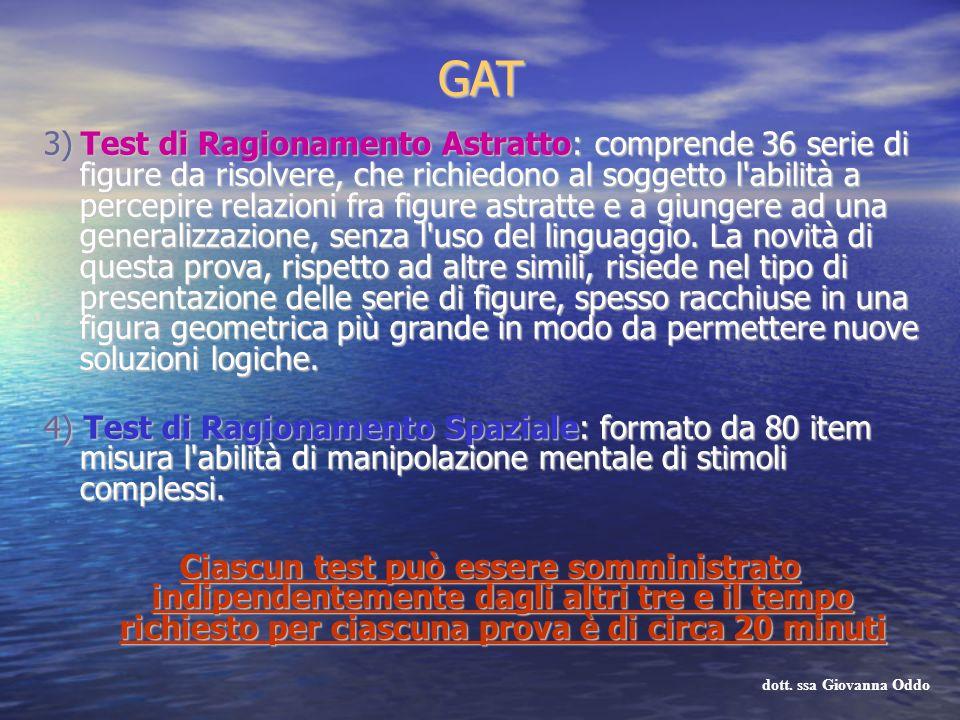 GAT 3) Test di Ragionamento Astratto: comprende 36 serie di figure da risolvere, che richiedono al soggetto l'abilità a percepire relazioni fra figure