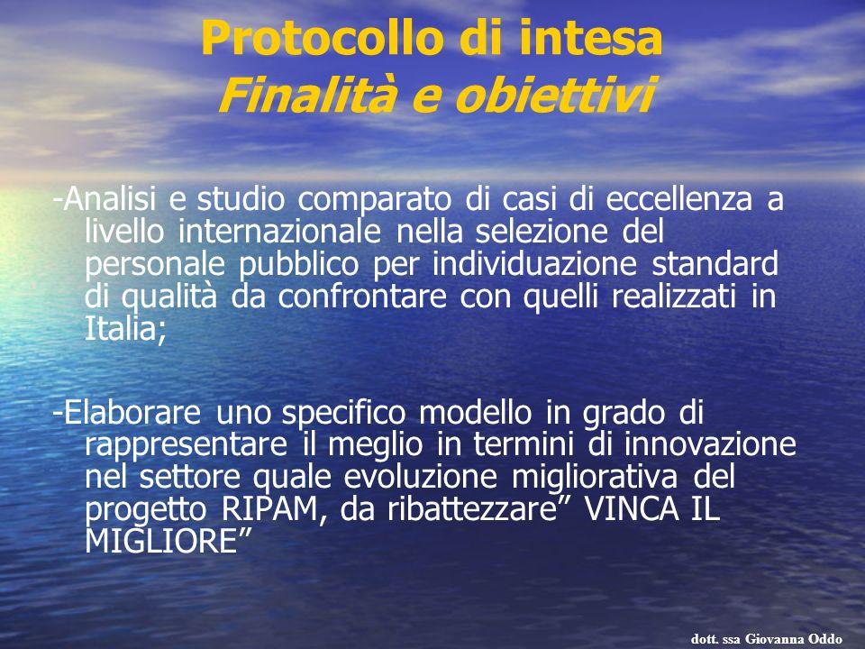 Protocollo di intesa Finalità e obiettivi -Analisi e studio comparato di casi di eccellenza a livello internazionale nella selezione del personale pub
