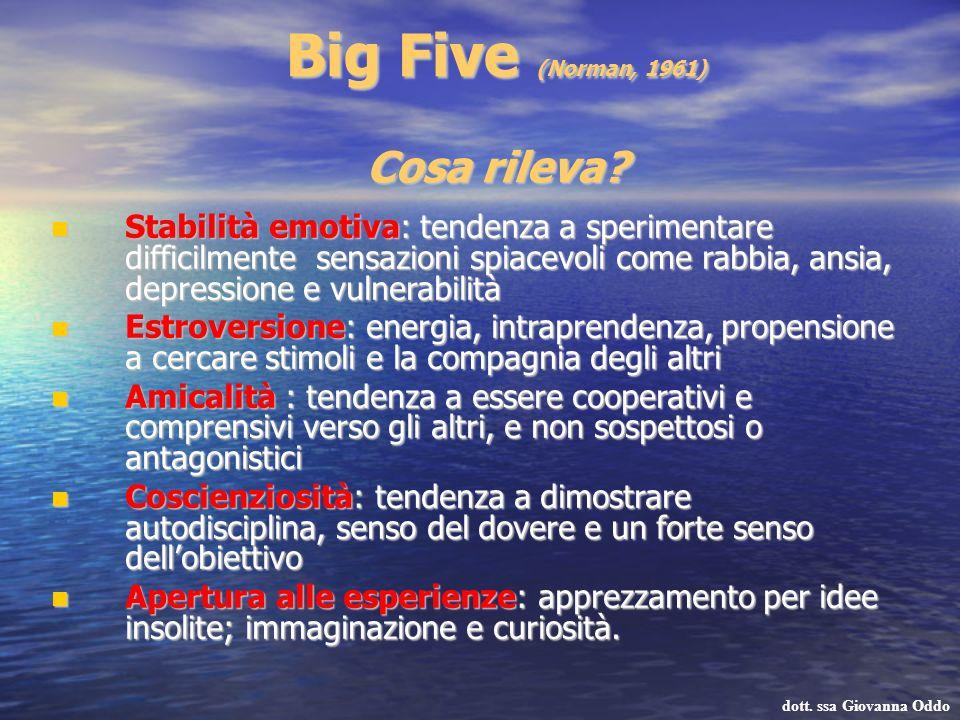 Big Five (Norman, 1961) Cosa rileva? Stabilità emotiva: tendenza a sperimentare difficilmente sensazioni spiacevoli come rabbia, ansia, depressione e