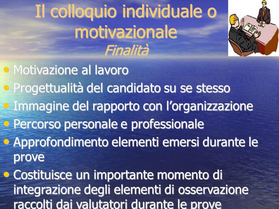 Motivazione al lavoro Motivazione al lavoro Progettualità del candidato su se stesso Progettualità del candidato su se stesso Immagine del rapporto co