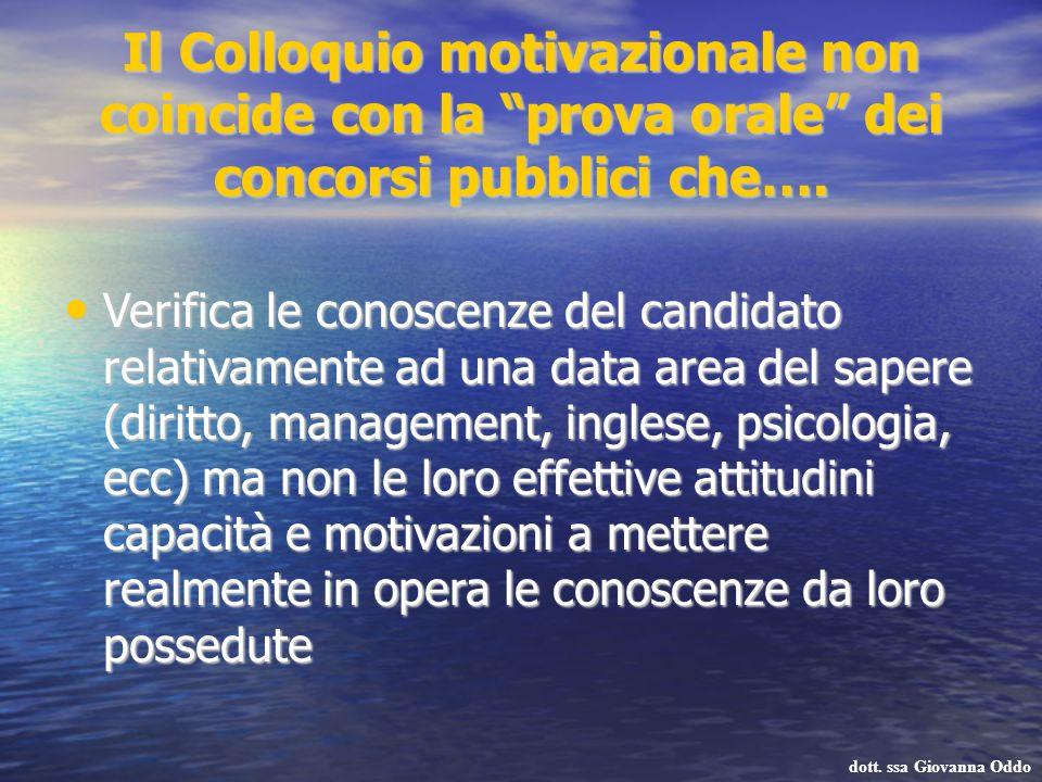 Il Colloquio motivazionale non coincide con la prova orale dei concorsi pubblici che…. Verifica le conoscenze del candidato relativamente ad una data