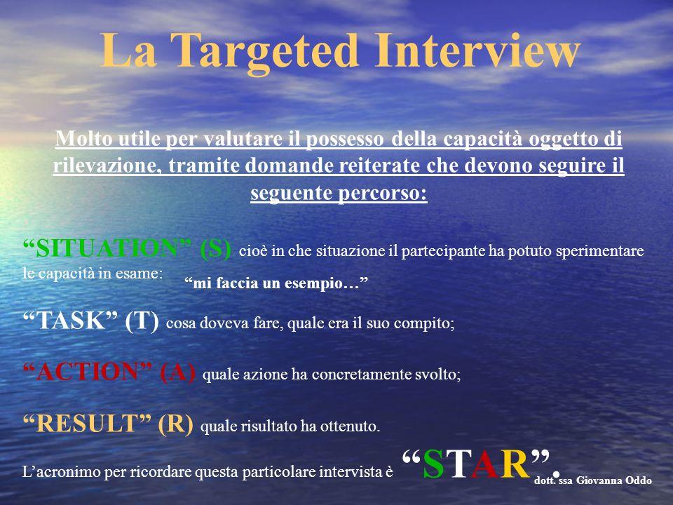 La Targeted Interview Molto utile per valutare il possesso della capacità oggetto di rilevazione, tramite domande reiterate che devono seguire il segu