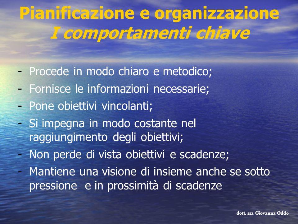 Pianificazione e organizzazione I comportamenti chiave -Procede in modo chiaro e metodico; -Fornisce le informazioni necessarie; -Pone obiettivi vinco