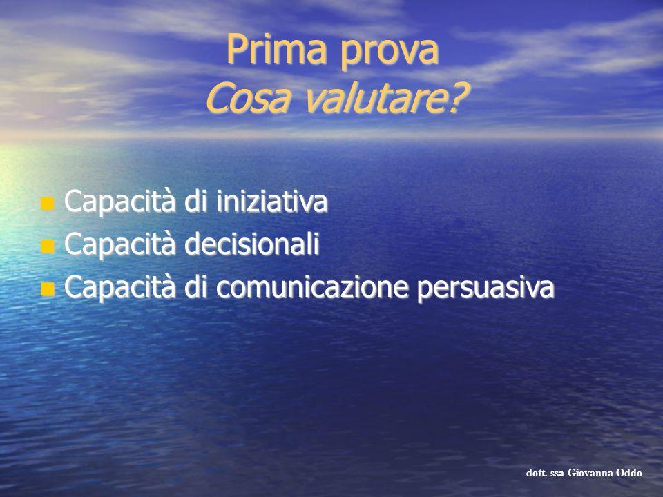 Prima prova Cosa valutare? Capacità di iniziativa Capacità di iniziativa Capacità decisionali Capacità decisionali Capacità di comunicazione persuasiv