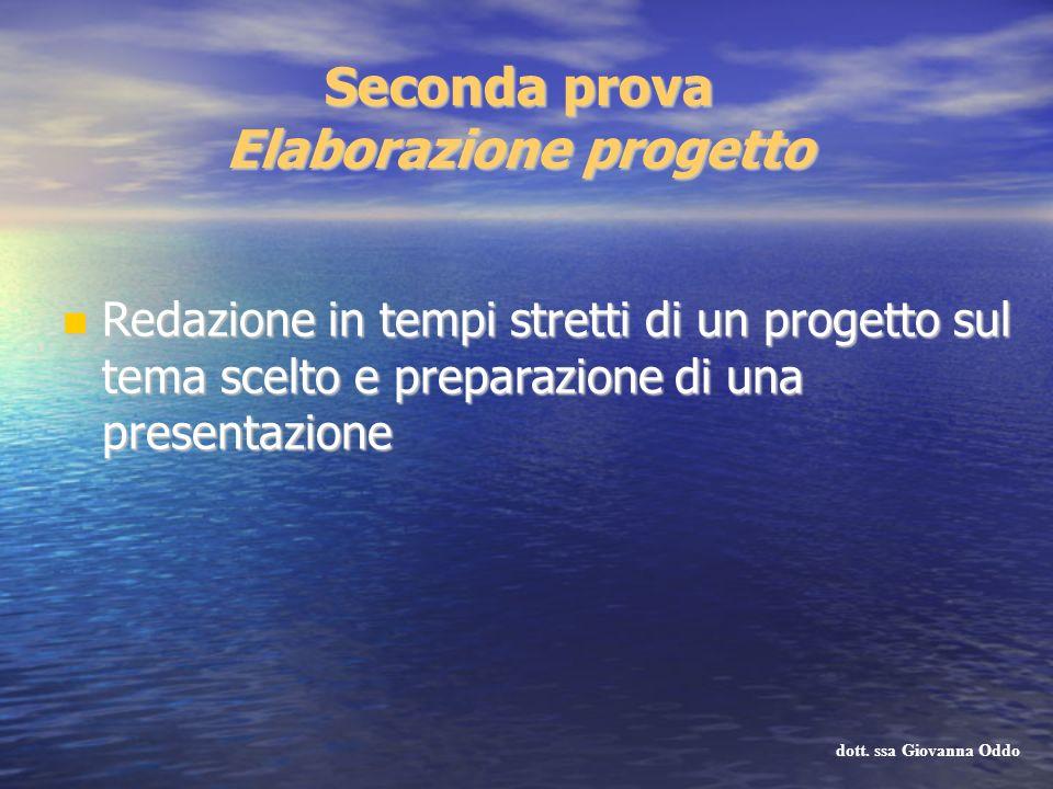 Seconda prova Elaborazione progetto Redazione in tempi stretti di un progetto sul tema scelto e preparazione di una presentazione Redazione in tempi s