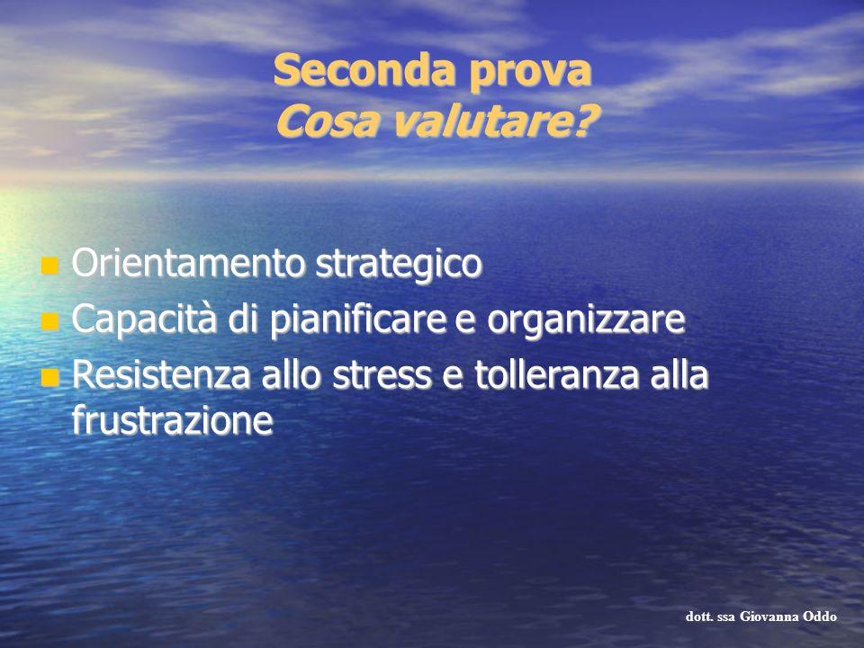 Seconda prova Cosa valutare? Orientamento strategico Orientamento strategico Capacità di pianificare e organizzare Capacità di pianificare e organizza