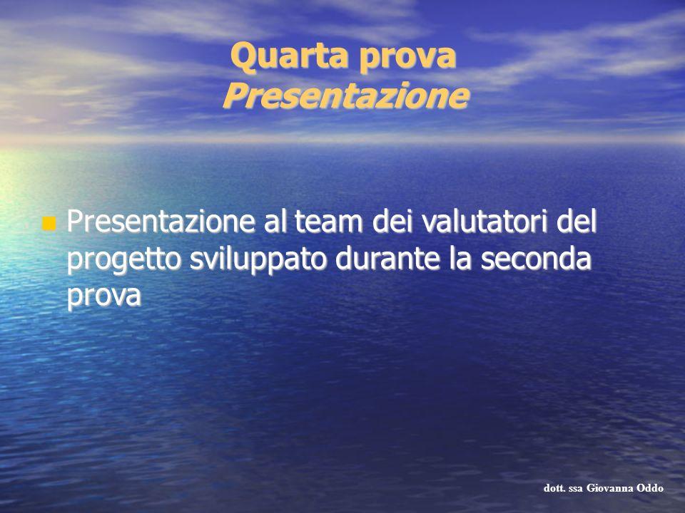 Quarta prova Presentazione Presentazione al team dei valutatori del progetto sviluppato durante la seconda prova Presentazione al team dei valutatori