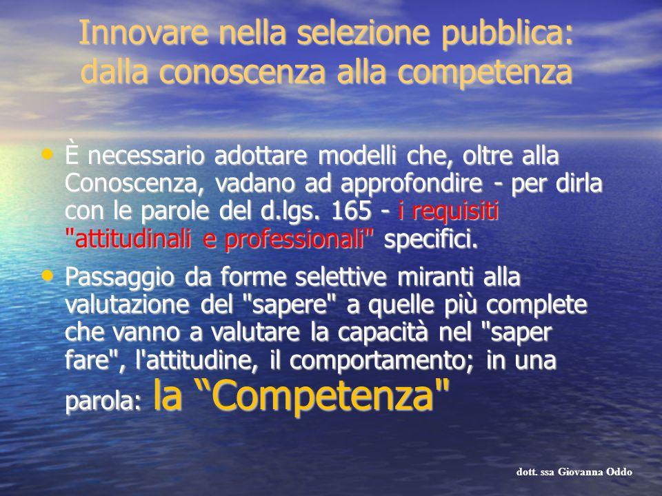 Innovare nella selezione pubblica: dalla conoscenza alla competenza È necessario adottare modelli che, oltre alla Conoscenza, vadano ad approfondire -