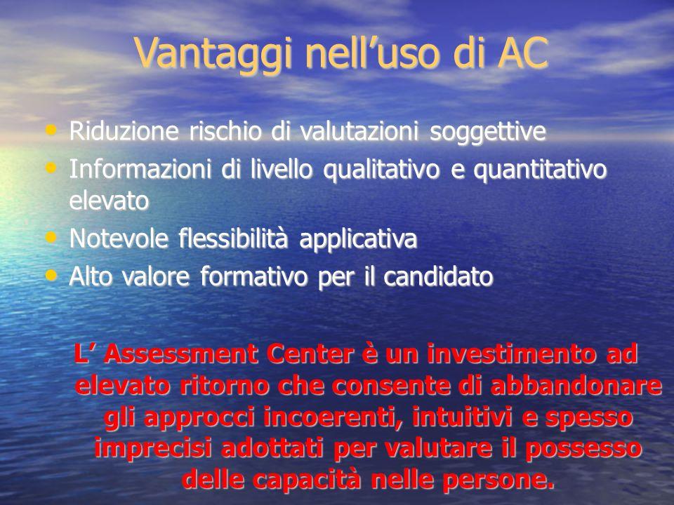 Vantaggi nelluso di AC Riduzione rischio di valutazioni soggettive Riduzione rischio di valutazioni soggettive Informazioni di livello qualitativo e q