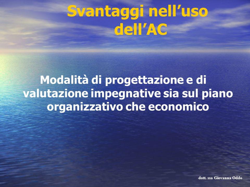 Svantaggi nelluso dellAC Modalità di progettazione e di valutazione impegnative sia sul piano organizzativo che economico dott. ssa Giovanna Oddo