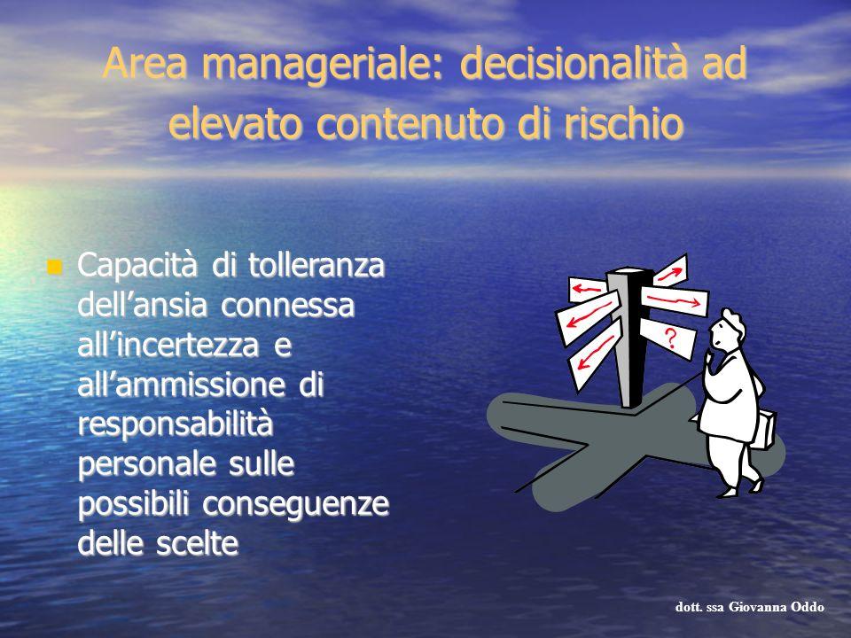 Area manageriale: decisionalità ad elevato contenuto di rischio Capacità di tolleranza dellansia connessa allincertezza e allammissione di responsabil