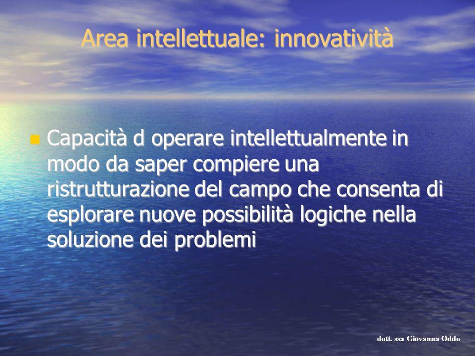 Area intellettuale: innovatività Capacità d operare intellettualmente in modo da saper compiere una ristrutturazione del campo che consenta di esplora
