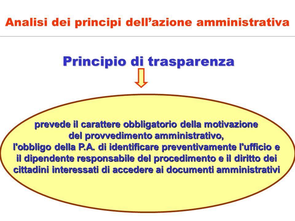 Principio di trasparenza Principio di trasparenza prevede il carattere obbligatorio della motivazione del provvedimento amministrativo, l'obbligo dell