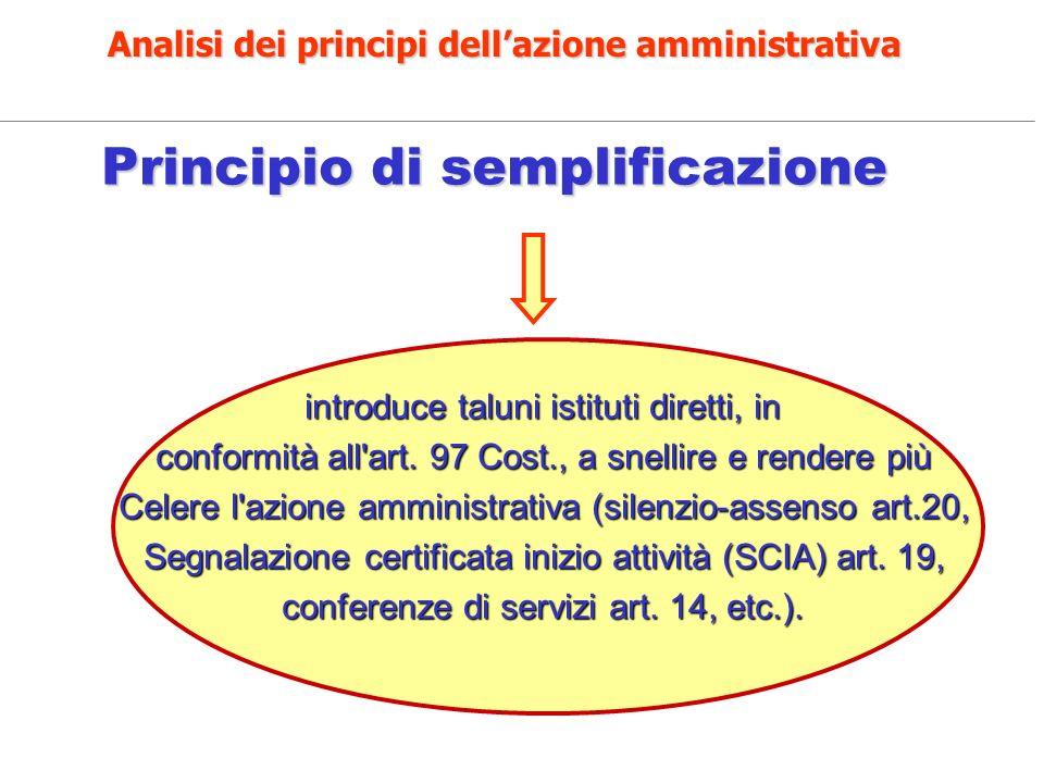 Principio di semplificazione Principio di semplificazione introduce taluni istituti diretti, in conformità all'art. 97 Cost., a snellire e rendere più