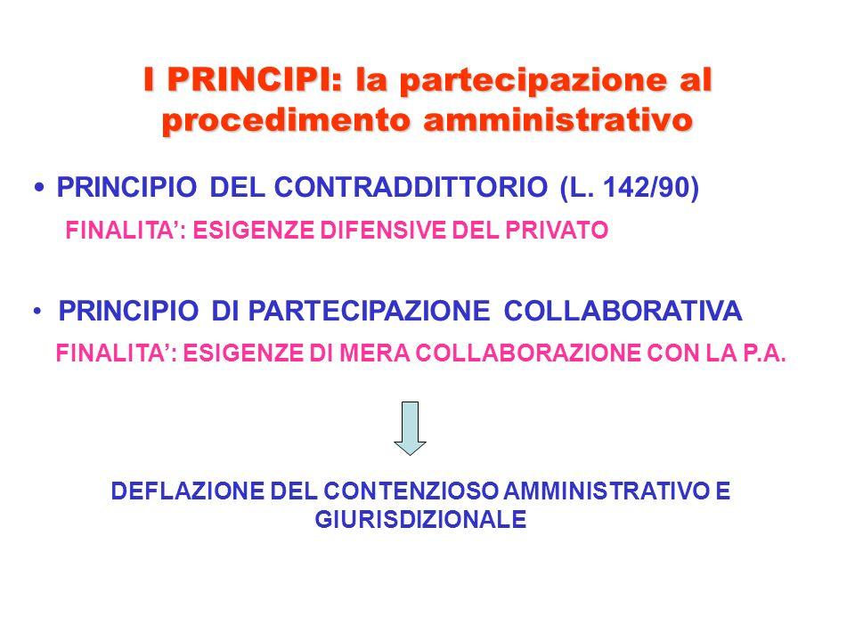 I PRINCIPI: la partecipazione al procedimento amministrativo PRINCIPIO DEL CONTRADDITTORIO (L. 142/90) FINALITA: ESIGENZE DIFENSIVE DEL PRIVATO PRINCI