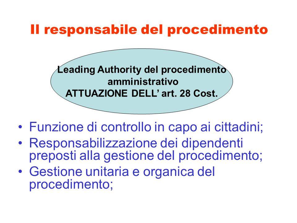 Il responsabile del procedimento Funzione di controllo in capo ai cittadini; Responsabilizzazione dei dipendenti preposti alla gestione del procedimen