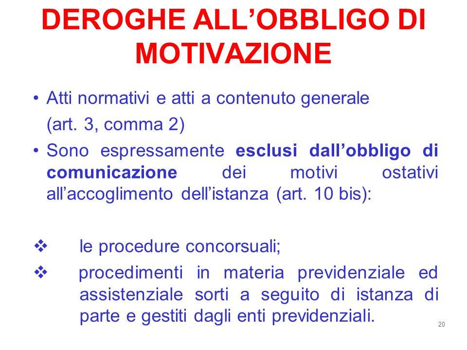 20 DEROGHE ALLOBBLIGO DI MOTIVAZIONE Atti normativi e atti a contenuto generale (art. 3, comma 2) Sono espressamente esclusi dallobbligo di comunicazi