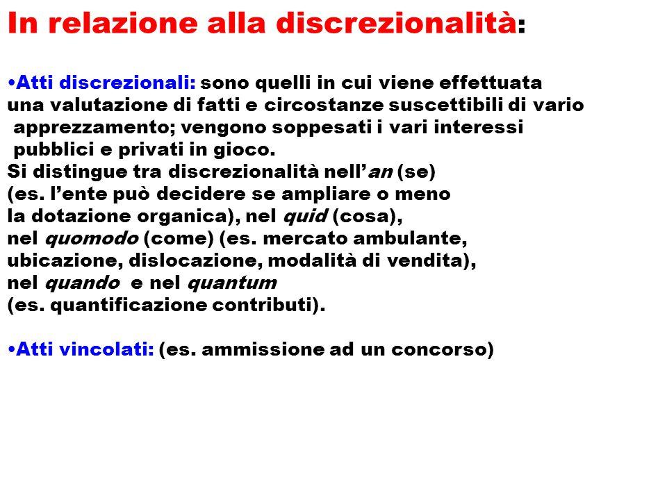 In relazione alla discrezionalità : Atti discrezionali: sono quelli in cui viene effettuata una valutazione di fatti e circostanze suscettibili di var