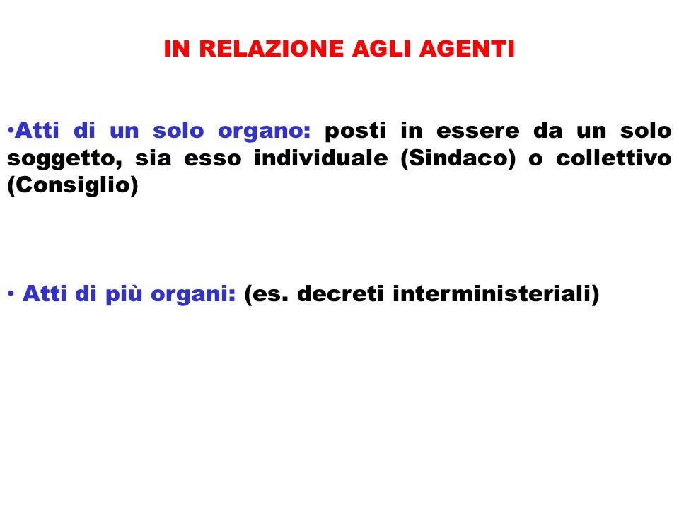 IN RELAZIONE AGLI AGENTI Atti di un solo organo: posti in essere da un solo soggetto, sia esso individuale (Sindaco) o collettivo (Consiglio) Atti di