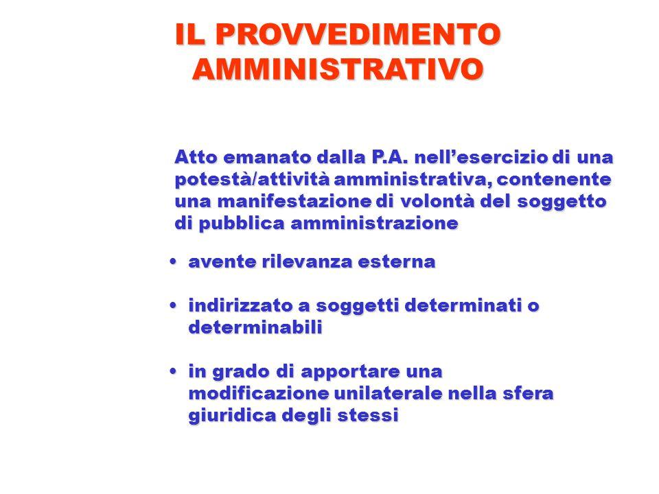 Atto emanato dalla P.A. nellesercizio di una potestà/attività amministrativa, contenente una manifestazione di volontà del soggetto di pubblica ammini