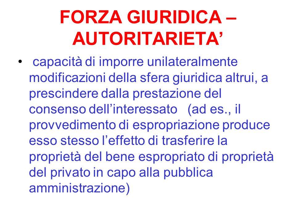 FORZA GIURIDICA – AUTORITARIETA capacità di imporre unilateralmente modificazioni della sfera giuridica altrui, a prescindere dalla prestazione del co