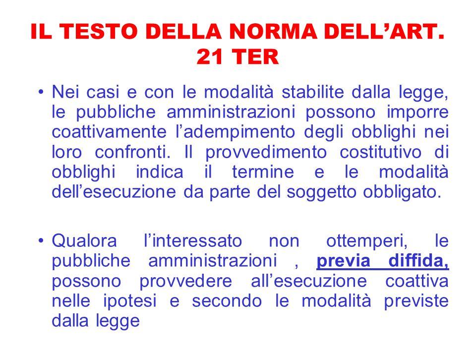 IL TESTO DELLA NORMA DELLART. 21 TER Nei casi e con le modalità stabilite dalla legge, le pubbliche amministrazioni possono imporre coattivamente lade