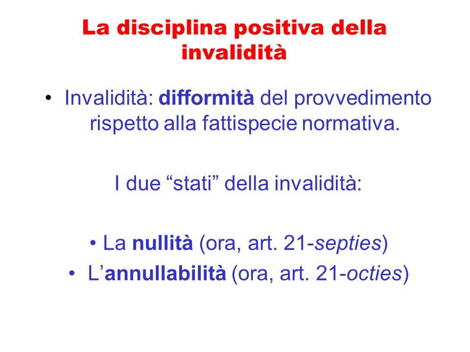 La disciplina positiva della invalidità Invalidità: difformità del provvedimento rispetto alla fattispecie normativa. I due stati della invalidità: La