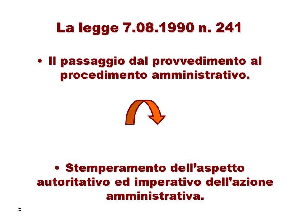5 La legge 7.08.1990 n. 241 Il passaggio dal provvedimento al procedimento amministrativo.Il passaggio dal provvedimento al procedimento amministrativ