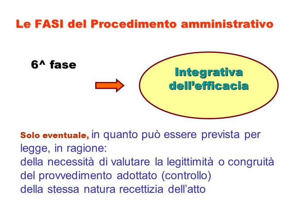 Le FASI del Procedimento amministrativo 6^ fase Integrativadellefficacia Solo eventuale, in quanto può essere prevista per legge, in ragione: della ne