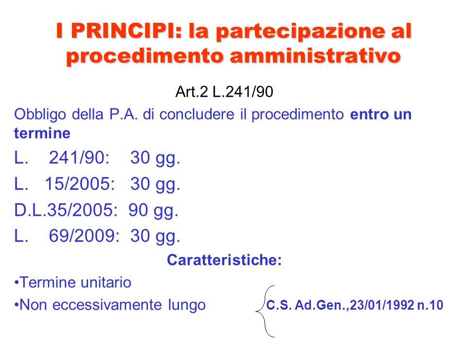 I PRINCIPI: la partecipazione al procedimento amministrativo Art.2 L.241/90 Obbligo della P.A. di concludere il procedimento entro un termine L. 241/9
