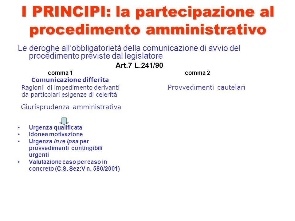 I PRINCIPI: la partecipazione al procedimento amministrativo Le deroghe allobbligatorietà della comunicazione di avvio del procedimento previste dal l