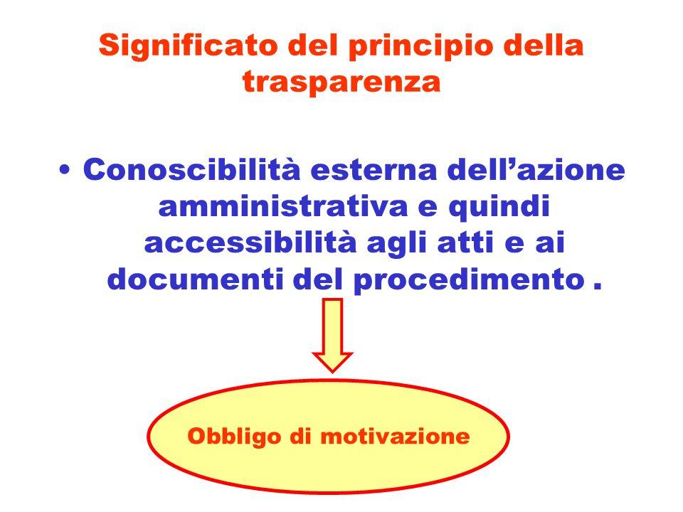 Significato del principio della trasparenza Conoscibilità esterna dellazione amministrativa e quindi accessibilità agli atti e ai documenti del proced