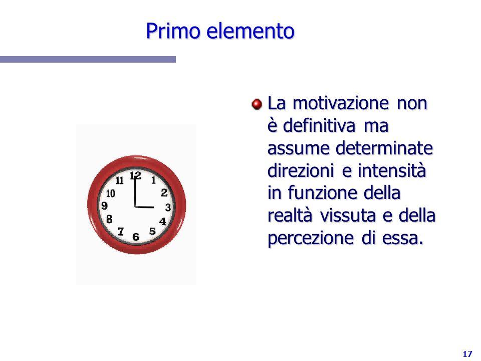 17 Primo elemento La motivazione non è definitiva ma assume determinate direzioni e intensità in funzione della realtà vissuta e della percezione di e
